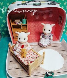 Kreativ Scrap Mitnehm Koffer Puppenkoffer Carry Doll House Suitcase Case Sylvanian Families DiY