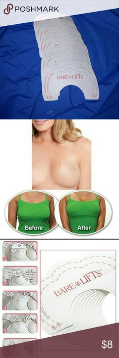 BARE LIFT, boob lift , 5 applications Brand new 5 lifts Fits A, B, C & D Cup Invisible tape Skin friendly latex free; 6 Step Easy Process: Peel off the lower side of the backing Apply the lower half just above nipple. (press it smooth to avoid wrinkles and or creases) Bend the top side down then peel away the rest of the backing Use the upper half of the lift to lift breast into position Press the upper half of the lift to your skin Follow steps 1-5 on other breast Package included 5 x Lifts…
