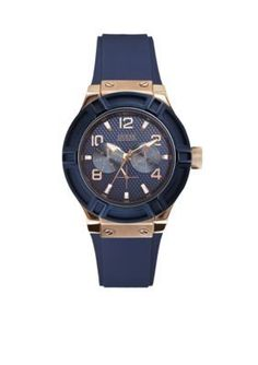 GUESS  Womens Blue and Rose Gold-Tone Standout Style Watch