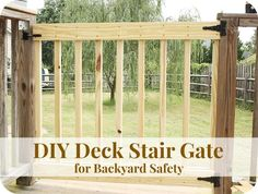 How to Build Your Own Deck Stair Gate Backyard Safety Porch Gate, Deck Gate, Stair Gate, Deck Stairs, Front Porch, Front Deck, Deck Railings, Deck Building Plans, Deck Plans