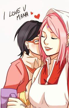 Sakura and Sarada <3 [by akemiin.tumblr.com]