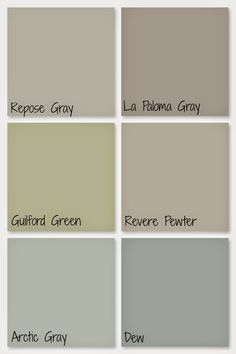 Our whole home paint colors: Repose Gray, La Paloma Gray, Guilford Green, Revere Pewter, Arctic Gray, Dew