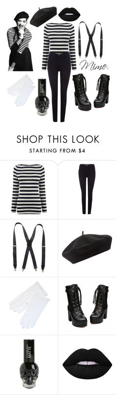 """""""Mime costume"""" by fob1fan ❤ liked on Polyvore featuring Sonam Life, Wrangler, Stacy Adams, Accessorize and Lime Crime"""