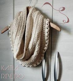 Gola em Crochê com Barroco Natural da Círculo - Katia Ribeiro Moda e Decoração Handmade