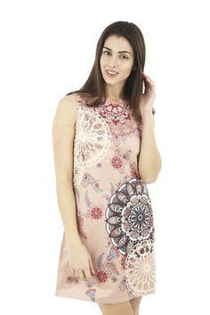 Kaleidoscope Print Shift Dress. A classically shaped shift dress with bold kaleidoscope print. The dress has a real vintage feel, making it a fashion season winner.