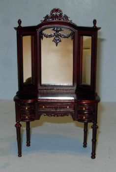 Hansson Mahogany Victorian Dresser Highly Carved Dollhouse Furniture Miniatures