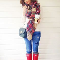 fall fashion: red hunter boots, plaid blanket scarf, destroyed denim and a chunky sweater. www.forallthingslovely.com