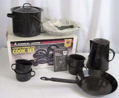 Black Enamel Camping Cookware Plates Cups Skillet Kettle Coffee Pot Some Unused #AmericanCamper