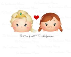 Frozen Tsum Tsum Printable sister friends iron on or clip art