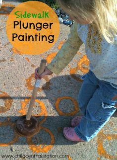 Plunger Paint Pumpkin Patch | Child Central Station - A great process art activity- using gross motor skills- a giant canvas and inexpensive paint!