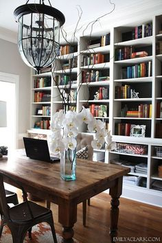 Home Office & Dining Room combo. home decor and interior decorating ideas. Dining Room Sets, Dining Room Office, Luxury Dining Room, Home Office Space, Home Office Design, Home Office Decor, House Design, Office Ideas, Office Designs