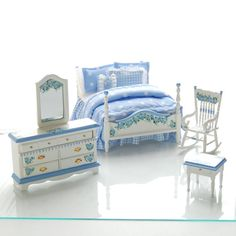 BELLA BLUE Hand Painted Dollhouse Miniature by MiniatureLane, $225.00