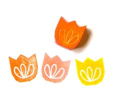 Tulip blossom hand carved rubber stamp via Etsy.