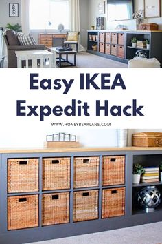 Everyone loves a good IKEA hack and this one is truly amazing. Cut an old bookcase in half and combine it with an IKEA Expedit and you've got a long storage unit! #ikeahacks #diyprojects #furniture