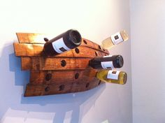 Wine rack from reclaimed barrel staves