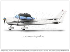 Cessna 172 SP Grey A3+ Print - Click Image to Close