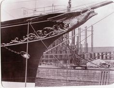 Standart in dry dock - showing double-crested eagle on bow.