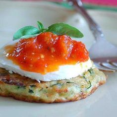 Zucchini Fritters w/Mozzarella & Stewed Grape Tomatoes  #food52 #saveur #summerfoodfights