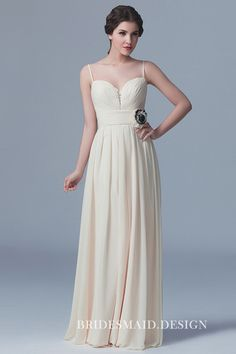Elegant Cream Chiffon Ruched Long Bridesmaid Dress with Spaghetti Straps 4855317ea835