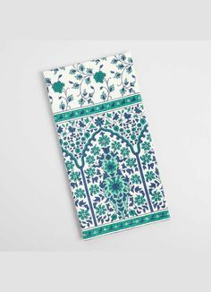 World Market Moroccan Teal and Blue Floral Gate Kitchen Towel #morocco #affiliate