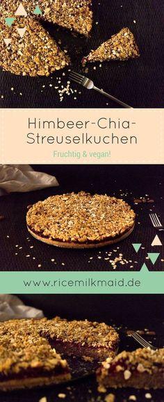 Fruchtiger Himbeer-Chia-Streuselkuchen. Komplett vegan und ziemlich gesund. Der Kuchenboden besteht aus Haferflocken, Mandeln und unter anderem Chia-Samen. Die vegane Himbeermarmelade ist selbstgemacht. Ein tolles Rezept, dass alle überzeugt. ♥ | Ricemilkmaid Blog