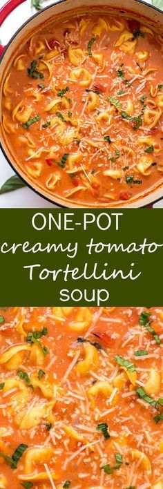 One-Pot Creamy Tomato Tortellini Soup Recipe - The EASIEST homemade creamy tomato tortellini soup made from scratch! Loaded with fresh herbs, diced tomatoes, and three-cheese tortellini! So easy you c (Soup Recipes Tortellini) Crock Pot Recipes, Slow Cooker Recipes, Cooking Recipes, Easy Soup Recipes, Chicken Recipes, Crock Pots, Hamburger Recipes, Recipes With Chicken Stock, Easy Donner Recipes