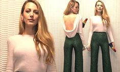 The 30-year-old actress flashed a hint of flesh in a backless pink jumper and green leopard print trousers as she celebrated the opening of the Ashley Longshore windows at Bergdorf Goodman.