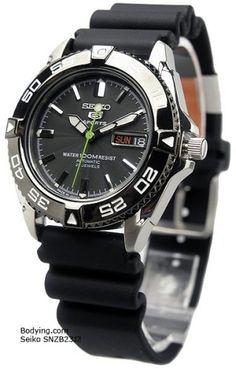 Seiko 5 Black Dial Rubber Strap Automatic Mens Watch SNZB23J2 Seiko http://www.amazon.com/dp/B000FFWFC6/ref=cm_sw_r_pi_dp_NgyJwb1C930S8