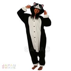 After slipping into this Black Cat Kigurumi, you'll be ready for cuddling with your special someone in cute pajamas or hunting your prey in a sexy costume. This kigurumi, with its white belly, tail an