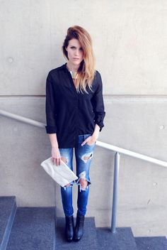 Blair Badge @blairbadge of Love, Blair hits every fall trend with ombre hair, a futuristic collar, ripped jeans and Steve Madden booties.
