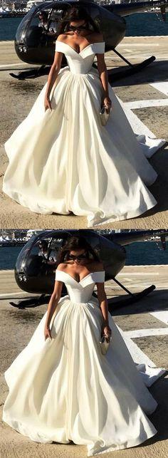 Deep V-neck Ball Gowns Satin Wedding Dresses Off The Shoulder