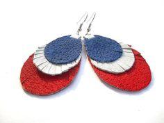 Women's fringe leather earrings Red White Blue