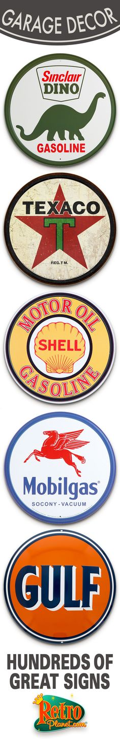 Add a touch of Americana to your garage, office or man cave with vintage-style gas and oil signs. These metal reproductions look like signs rescued from an old filling station or repair shop, with famous oil brands and cool garage themes.