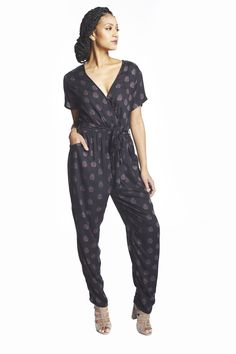 Wrap Jumpsuit in Black & Orchid Agave