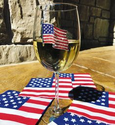 American Flag Wine Glass by Cork Pops - The Queens' Jewels Collection Exquisite Hand Crafted Jeweled Glassware MADE IN THE USA