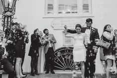 Charleston wedding exit with bubbles at The South Caorlina Society Hall