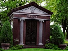 Featured Is A Two Crypt Private Mausoleum with Half Round Fluted Columns. Mausoleum was Constructed in Polished Wild Rose Granite in a Size of x x Fluted Columns, Memorial Park, Side Wall, Cemetery, Old World, Granite, Gazebo, Outdoor Structures, Art