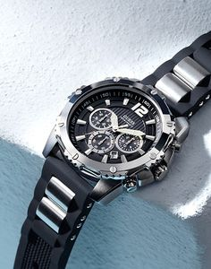 #GUESS Black Bold Sport Watch
