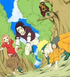 Team 7, Sakura, Sasuke, Naruto, cat, Kakashi, cute, funny, book; Naruto