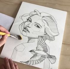 To draw in 2019 art, art drawings, watercolor art. Pencil Art Drawings, Art Drawings Sketches, Hard Drawings, Beauty Illustration, Bird Illustration, Art Sketchbook, Sketchbook Inspiration, Painting Inspiration, Art Techniques