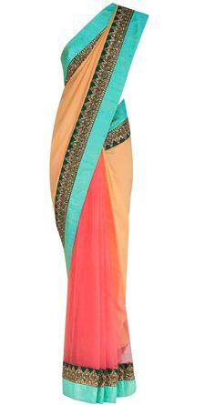 Sahara sand and pink georgette and net sari by SABYASACHI. Shop at https://www.perniaspopupshop.com/designers-1/sabyasachi/sabyasachi-27