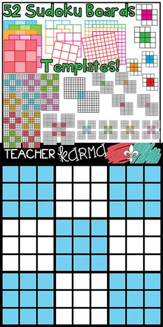 Sudoku Templates clipart * Make your own for your students and classroom.  TeacherKARMA.com