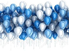 Blue balloons isolated on white background photo Blue And Silver, Blue And White, Blue Balloons, White Background Photo, Photo Blue, Congratulations, Pottery, Display, Stock Photos