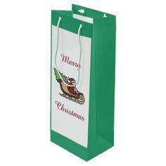 Christmas Santa Green Wine Gift Bag by Janz