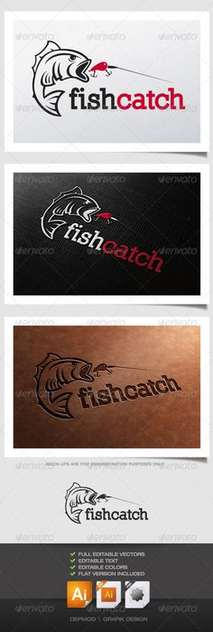 Fish Catch Logo — Transparent PNG #Bait #perch • Available here → https://graphicriver.net/item/fish-catch-logo/4443624?ref=pxcr