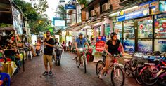 Cycle around Bangkok after dark, and experience a different side to the city. Using back lanes and quiet streets, explore 2 of Bangkok's most famous temples, beautifully lit up in the cool night air and when they are free of crowds.