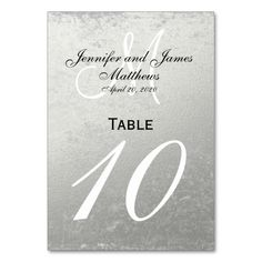 Faux Silver Foil Wedding Table Number Card Wedding table cards you can personalize to add finishing details to your wedding reception or rehearsal dinner. Rustic Table Numbers, Wedding Table Numbers, Card Table Wedding, Wedding Cards, Wedding Signs, Personal Cards Design, Half Up Wedding, Chalkboard Wedding, Monogram Wedding
