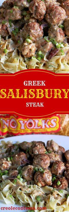 Greek Salisbury Steak Meatballs with No Yolks®️️ Noodles-Creole Contessa  #onlynoyolks #AD