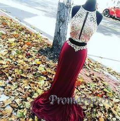 Cute burgundy chiffon two pieces prom dress with sparkly top, ball gown, prom dress 2016 #coniefox #2016prom