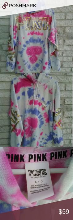VS PINK tie dye bling hoodie Cotton Candy large Victoria's Secret PINK bling seqins hoodie Size Large Pre-loved & revamped with Cotton Candy tie dye colors PINK Victoria's Secret Tops Sweatshirts & Hoodies